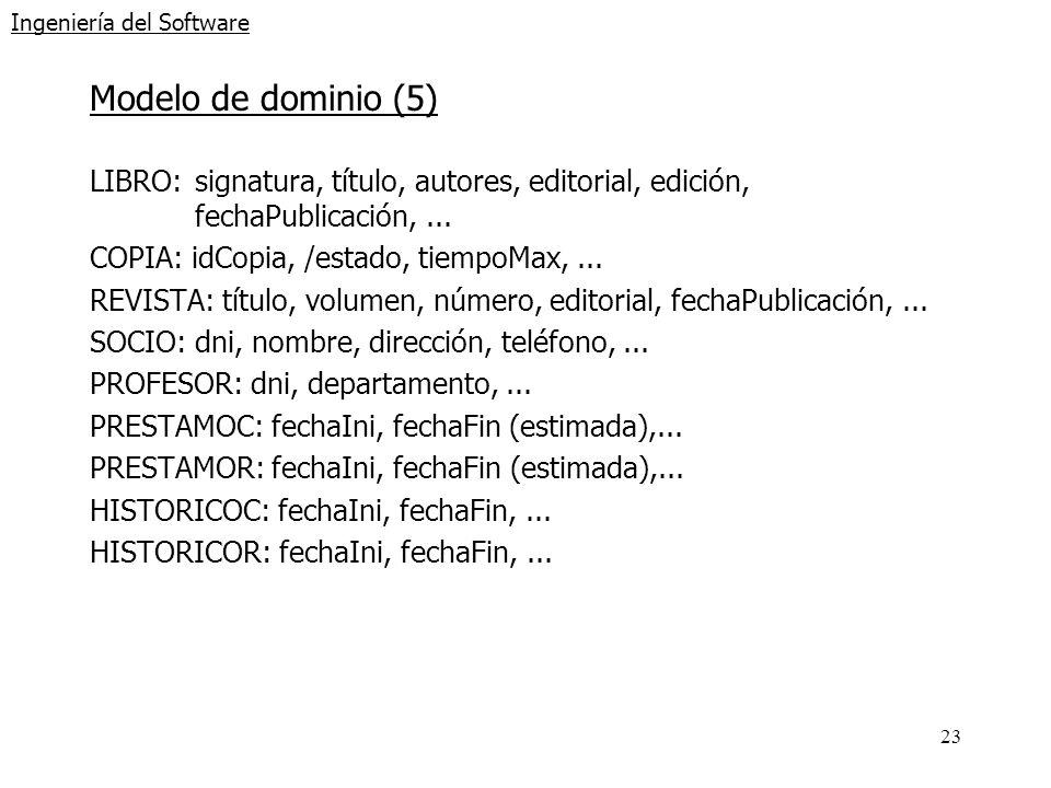 23 Ingeniería del Software Modelo de dominio (5) LIBRO: signatura, título, autores, editorial, edición, fechaPublicación,... COPIA: idCopia, /estado,