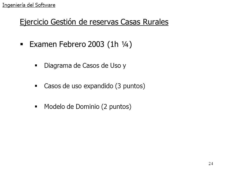 24 Ingeniería del Software Ejercicio Gestión de reservas Casas Rurales Examen Febrero 2003 (1h ¼) Diagrama de Casos de Uso y Casos de uso expandido (3