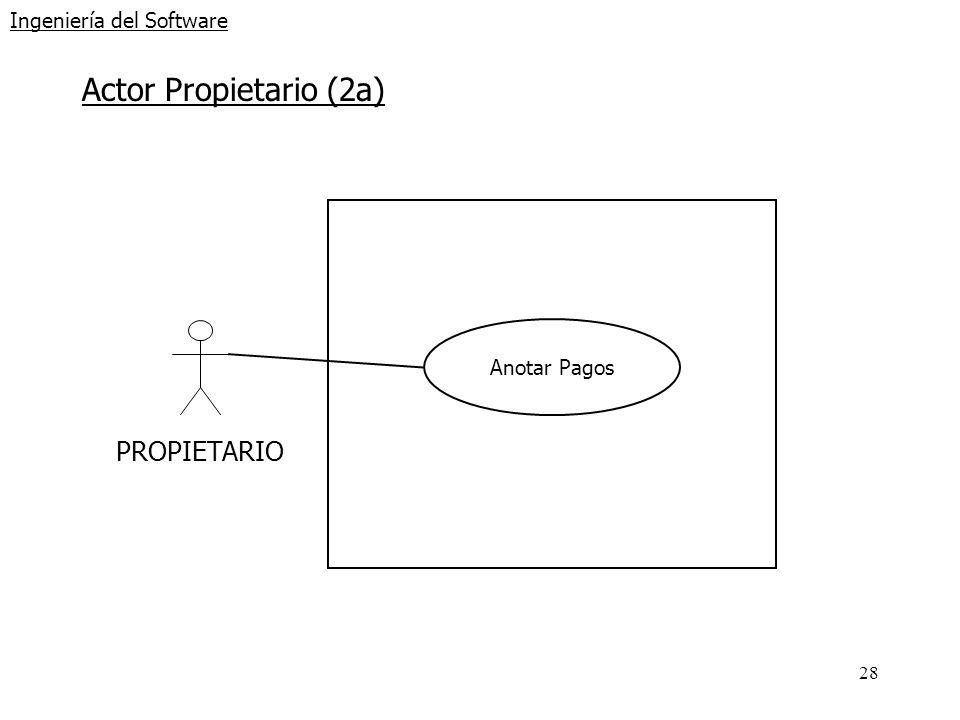 28 Ingeniería del Software Actor Propietario (2a) PROPIETARIO Anotar Pagos