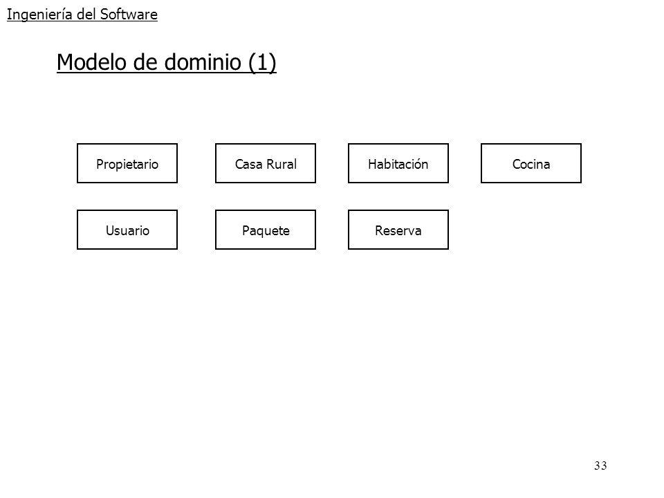 33 Ingeniería del Software Modelo de dominio (1) Propietario Usuario Casa Rural Paquete HabitaciónCocina Reserva
