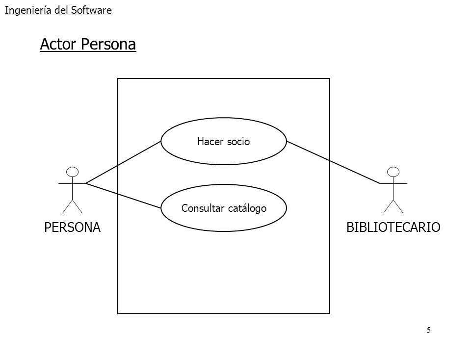5 Ingeniería del Software Actor Persona PERSONA BIBLIOTECARIO Hacer socio Consultar catálogo