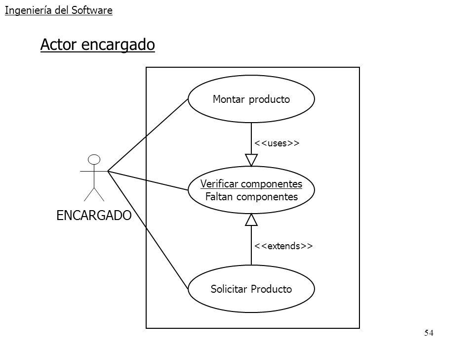 54 Ingeniería del Software Actor encargado ENCARGADO Montar producto Verificar componentes Faltan componentes Solicitar Producto >