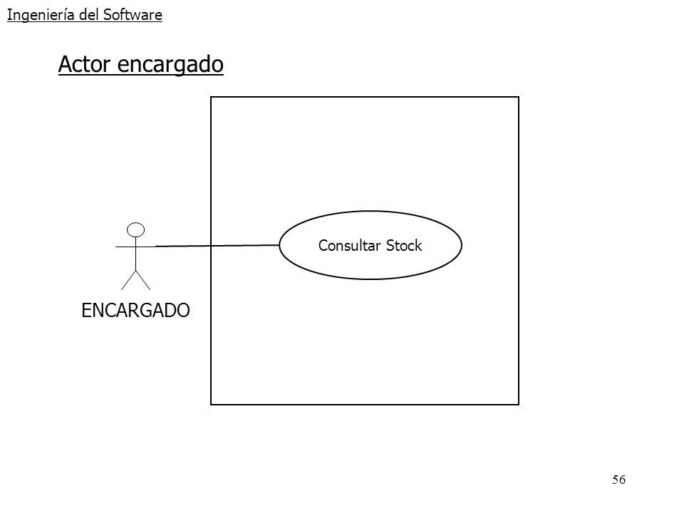 56 Ingeniería del Software Actor encargado ENCARGADO Consultar Stock