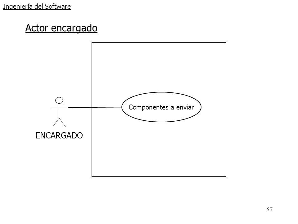 57 Ingeniería del Software Actor encargado ENCARGADO Componentes a enviar