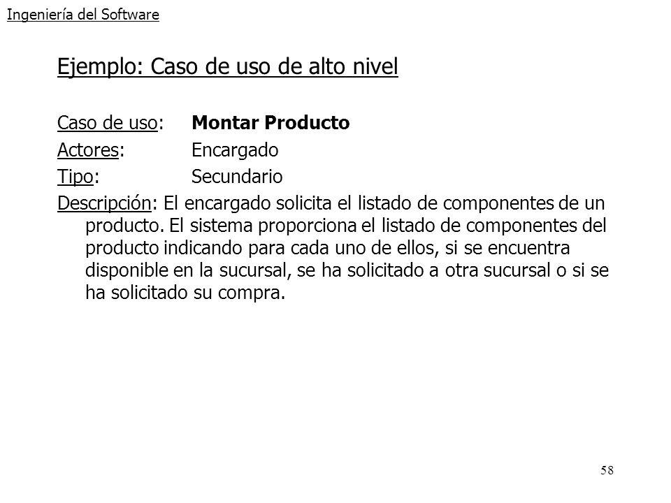 58 Ingeniería del Software Ejemplo: Caso de uso de alto nivel Caso de uso: Montar Producto Actores: Encargado Tipo: Secundario Descripción: El encarga