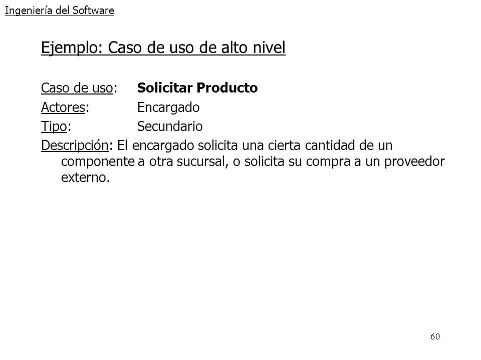 60 Ingeniería del Software Ejemplo: Caso de uso de alto nivel Caso de uso: Solicitar Producto Actores:Encargado Tipo:Secundario Descripción: El encarg