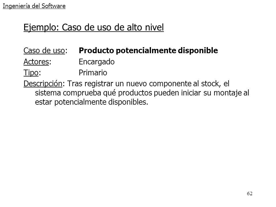 62 Ingeniería del Software Ejemplo: Caso de uso de alto nivel Caso de uso: Producto potencialmente disponible Actores:Encargado Tipo:Primario Descripc