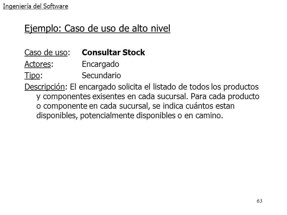 63 Ingeniería del Software Ejemplo: Caso de uso de alto nivel Caso de uso: Consultar Stock Actores:Encargado Tipo:Secundario Descripción: El encargado
