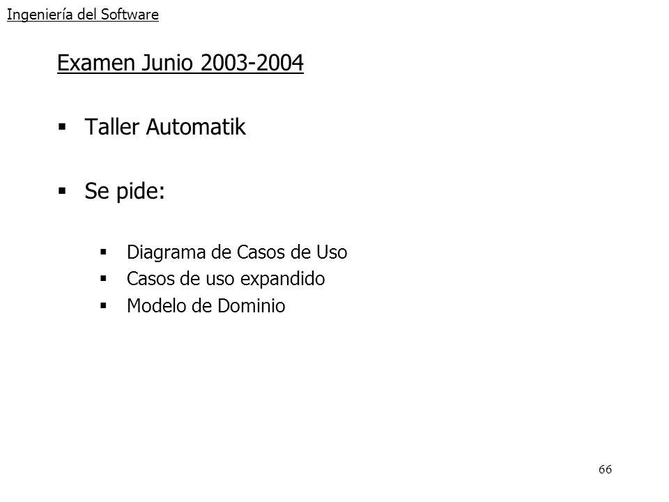 66 Ingeniería del Software Examen Junio 2003-2004 Taller Automatik Se pide: Diagrama de Casos de Uso Casos de uso expandido Modelo de Dominio