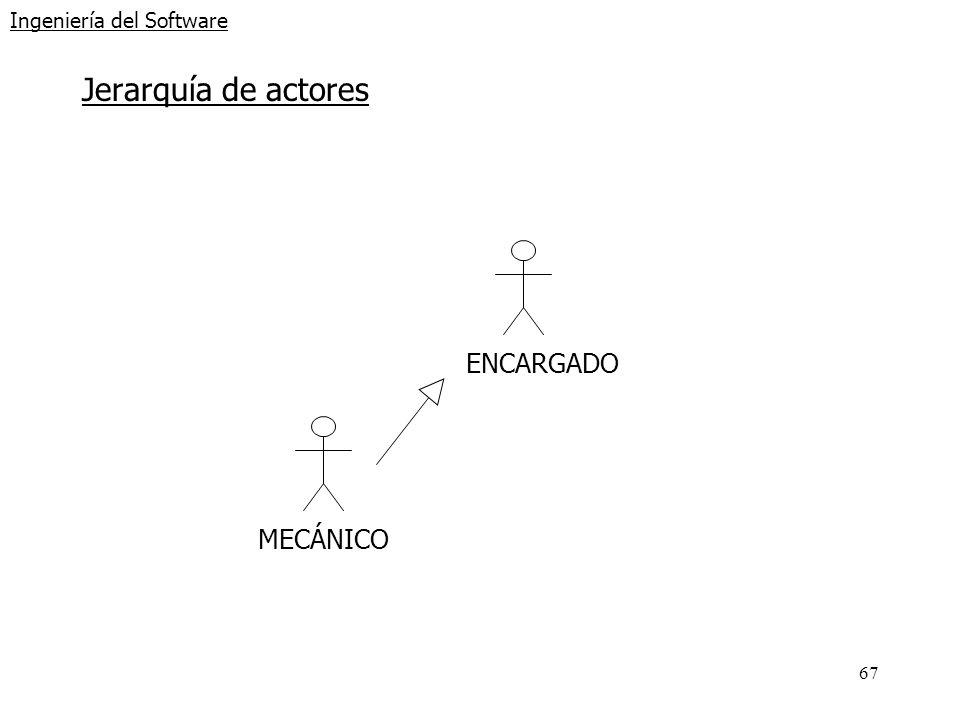 67 Ingeniería del Software Jerarquía de actores ENCARGADO MECÁNICO
