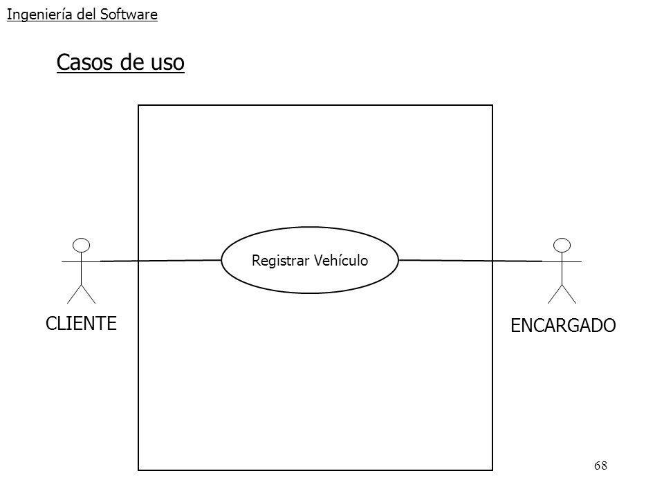 68 Ingeniería del Software Casos de uso CLIENTE Registrar Vehículo ENCARGADO