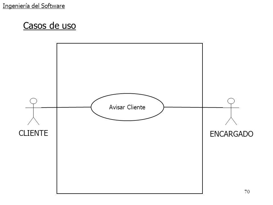 70 Ingeniería del Software Casos de uso CLIENTE Avisar Cliente ENCARGADO