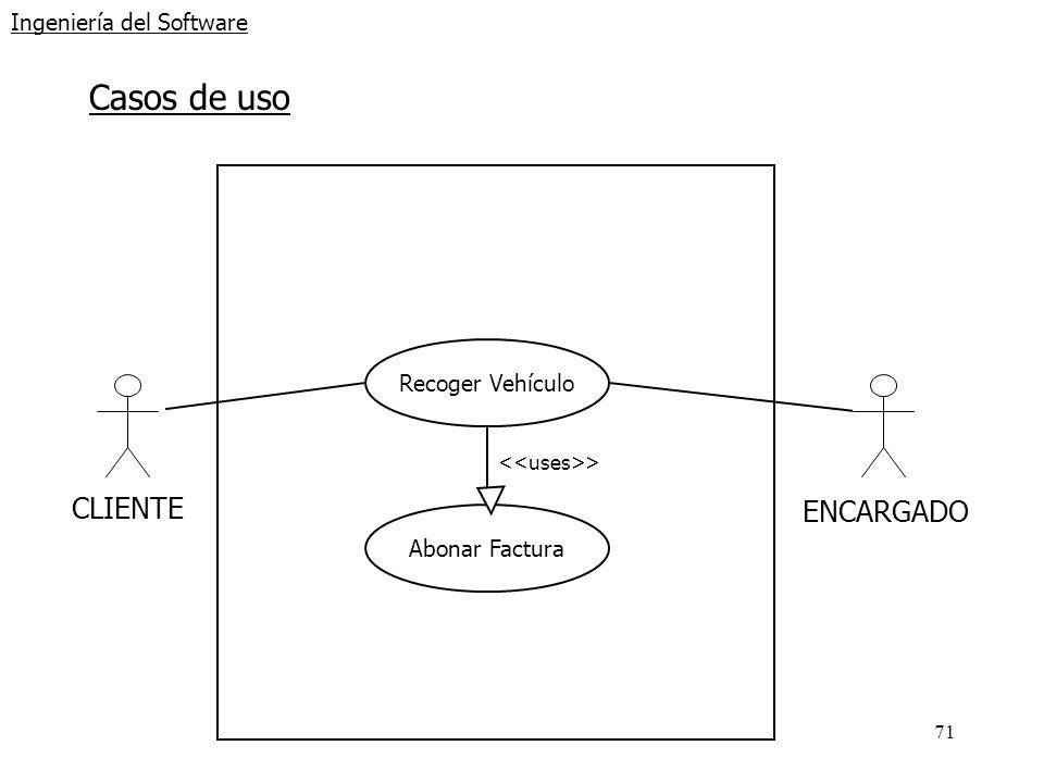 71 Ingeniería del Software Casos de uso CLIENTE ENCARGADO Recoger Vehículo Abonar Factura >