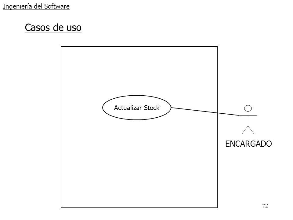 72 Ingeniería del Software Casos de uso ENCARGADO Actualizar Stock