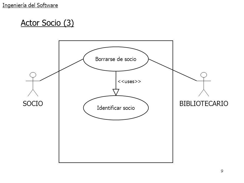 9 Ingeniería del Software Actor Socio (3) SOCIOBIBLIOTECARIO Borrarse de socio Identificar socio >