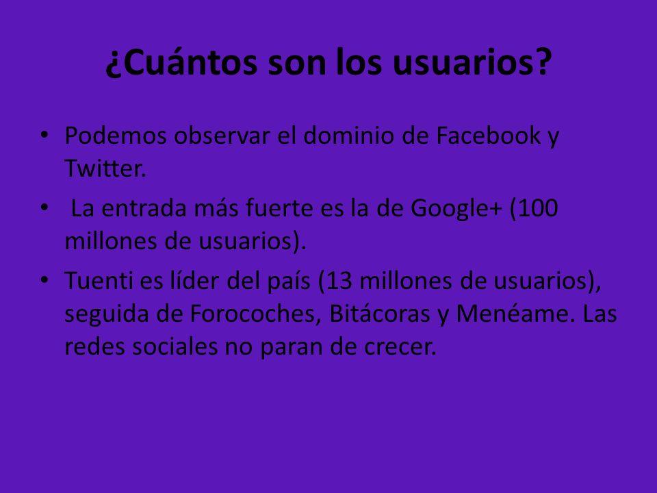 ¿Cuántos son los usuarios? Podemos observar el dominio de Facebook y Twitter. La entrada más fuerte es la de Google+ (100 millones de usuarios). Tuent