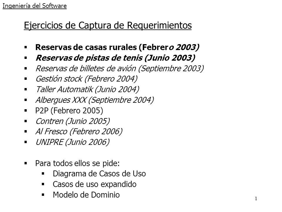 1 Ingeniería del Software Ejercicios de Captura de Requerimientos Reservas de casas rurales (Febrero 2003) Reservas de pistas de tenis (Junio 2003) Re