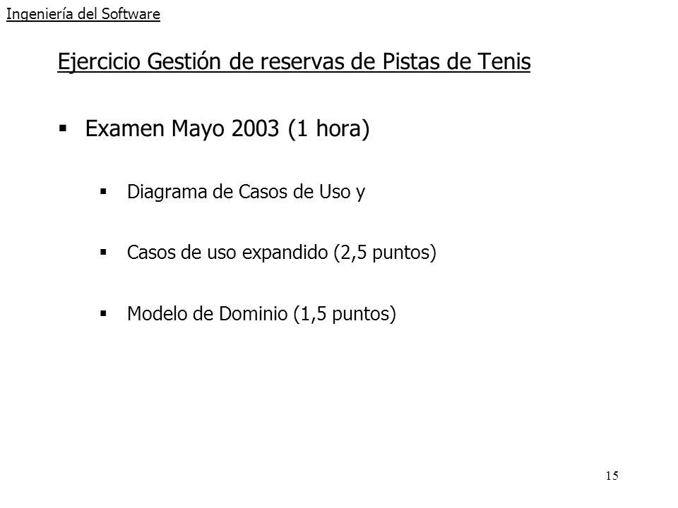 15 Ingeniería del Software Ejercicio Gestión de reservas de Pistas de Tenis Examen Mayo 2003 (1 hora) Diagrama de Casos de Uso y Casos de uso expandid