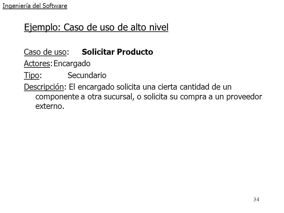 34 Ingeniería del Software Ejemplo: Caso de uso de alto nivel Caso de uso: Solicitar Producto Actores:Encargado Tipo:Secundario Descripción: El encarg
