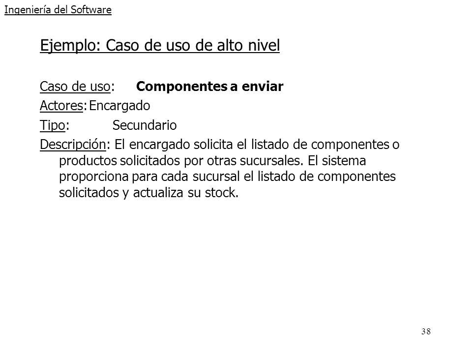 38 Ingeniería del Software Ejemplo: Caso de uso de alto nivel Caso de uso: Componentes a enviar Actores:Encargado Tipo:Secundario Descripción: El encargado solicita el listado de componentes o productos solicitados por otras sucursales.
