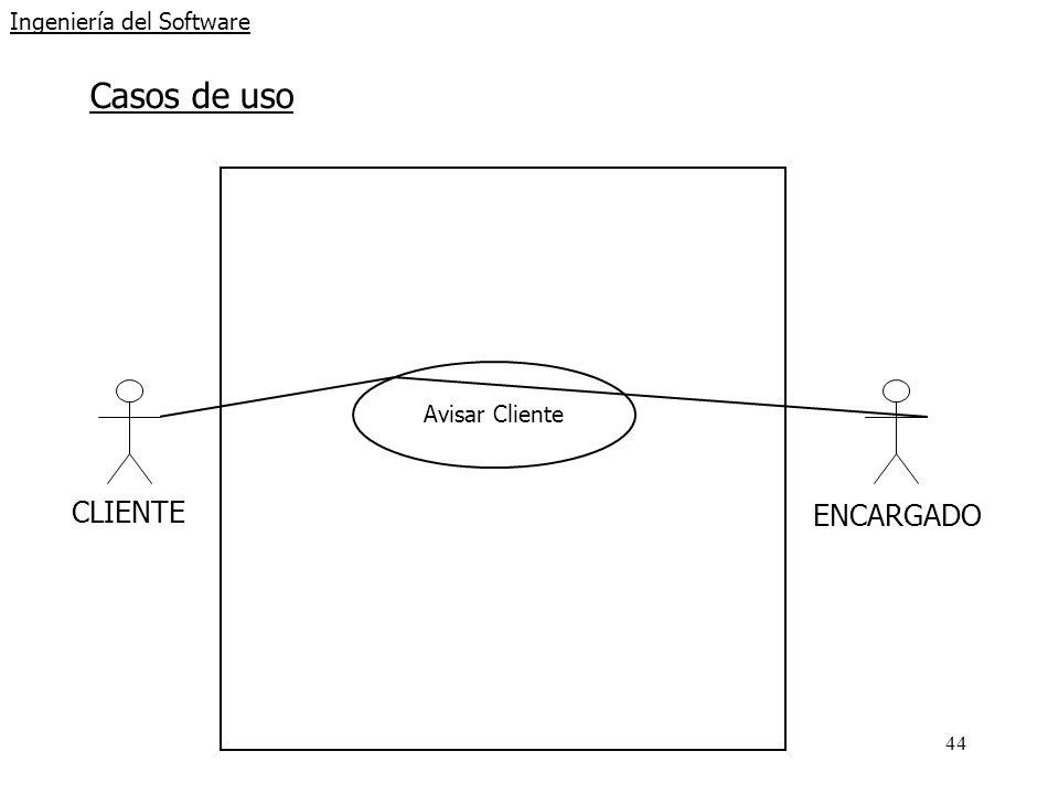 44 Ingeniería del Software Casos de uso CLIENTE Avisar Cliente ENCARGADO