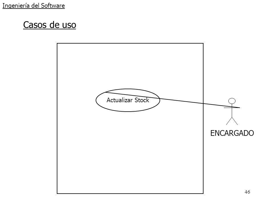 46 Ingeniería del Software Casos de uso ENCARGADO Actualizar Stock