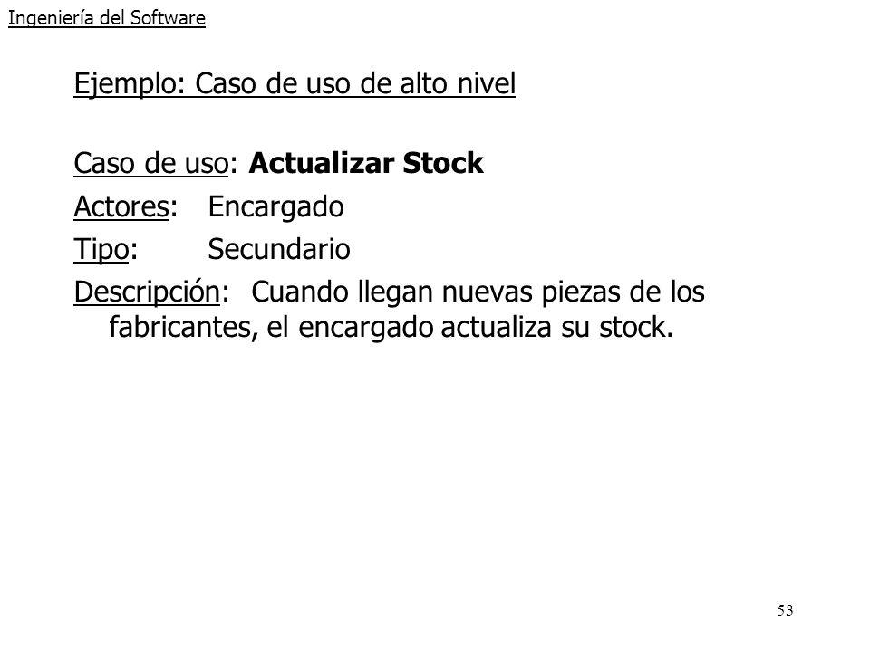 53 Ingeniería del Software Ejemplo: Caso de uso de alto nivel Caso de uso: Actualizar Stock Actores:Encargado Tipo:Secundario Descripción:Cuando llega