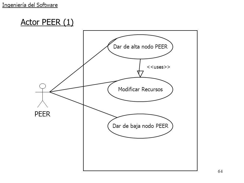 64 Ingeniería del Software Actor PEER (1) PEER Dar de alta nodo PEER Modificar Recursos > Dar de baja nodo PEER