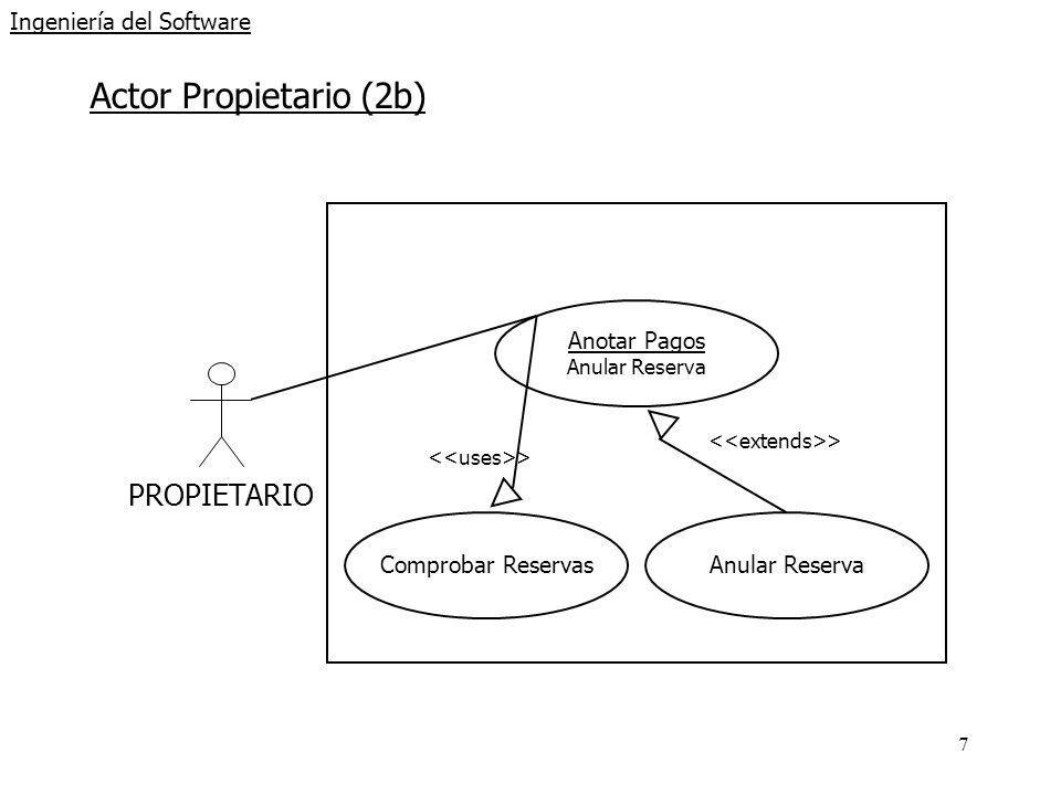 7 Ingeniería del Software Actor Propietario (2b) PROPIETARIO Anotar Pagos Anular Reserva Comprobar ReservasAnular Reserva >