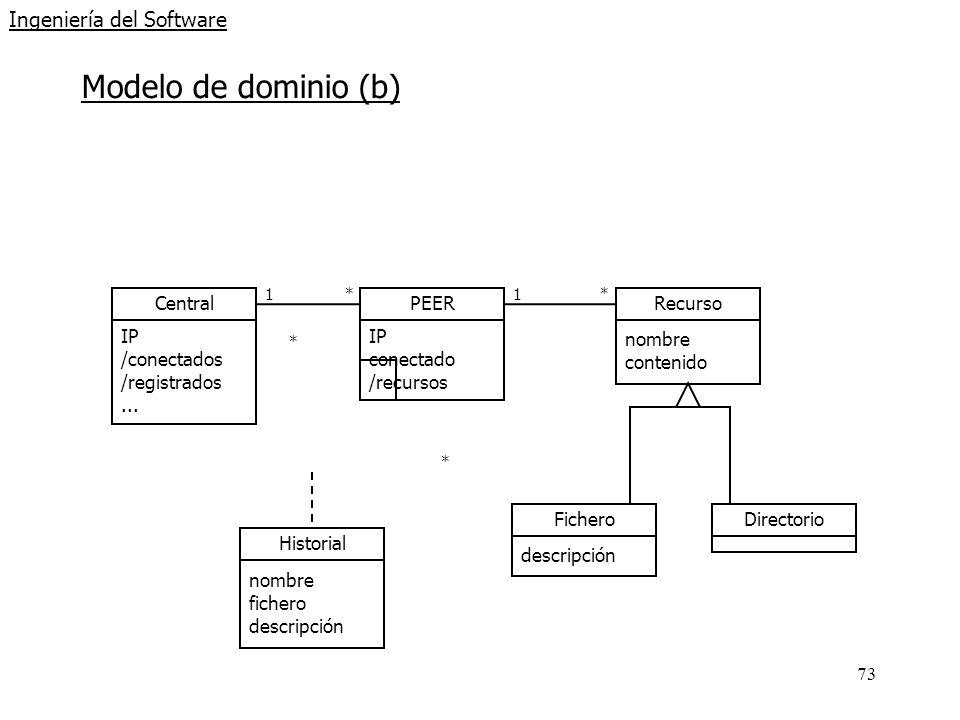 73 Ingeniería del Software Modelo de dominio (b) 1* Central IP /conectados /registrados... PEER IP conectado /recursos 1* Recurso nombre contenido Fic