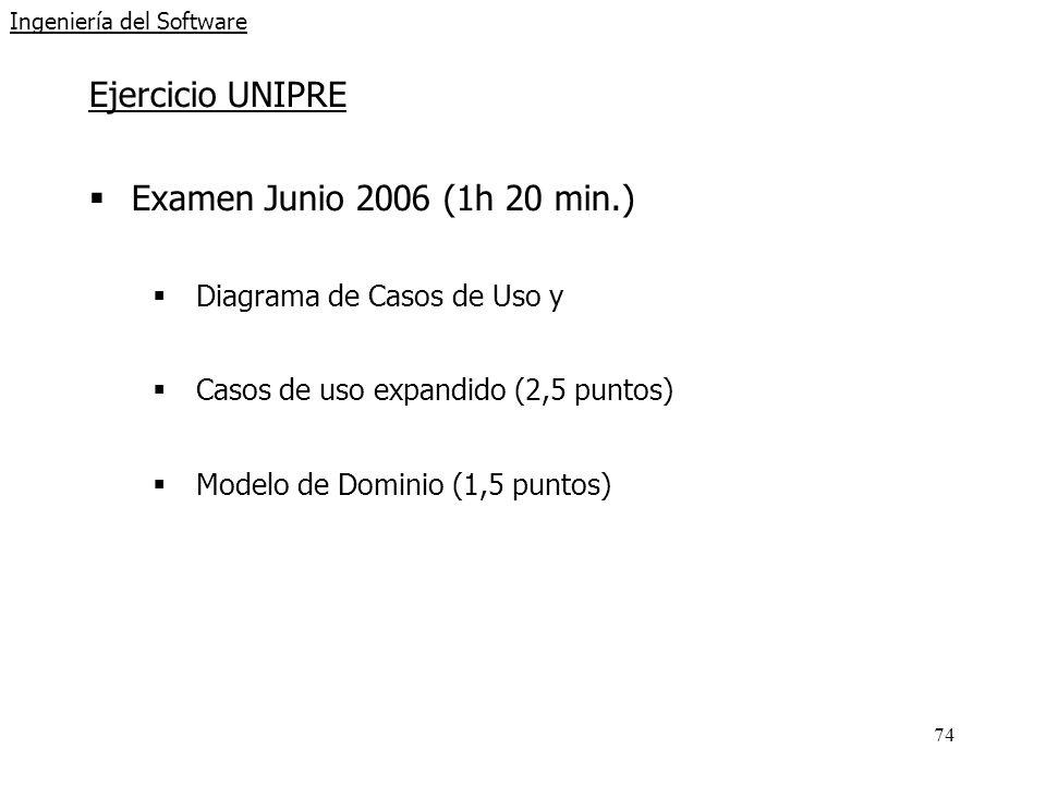 74 Ingeniería del Software Ejercicio UNIPRE Examen Junio 2006 (1h 20 min.) Diagrama de Casos de Uso y Casos de uso expandido (2,5 puntos) Modelo de Dominio (1,5 puntos)