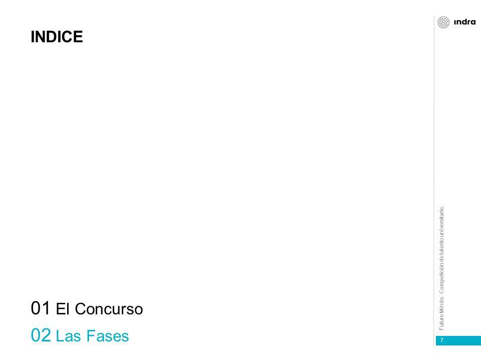 Future Minds. Competición de talento universitario. 7 INDICE 01 El Concurso 02 Las Fases