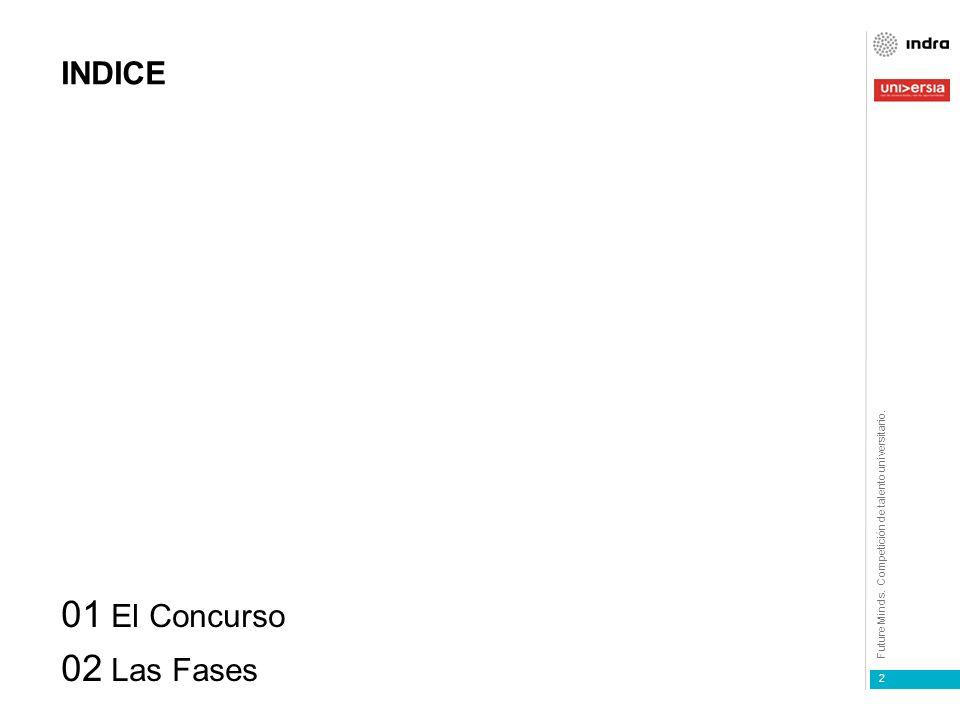 Future Minds. Competición de talento universitario. alianza 1 2 INDICE 01 El Concurso 02 Las Fases