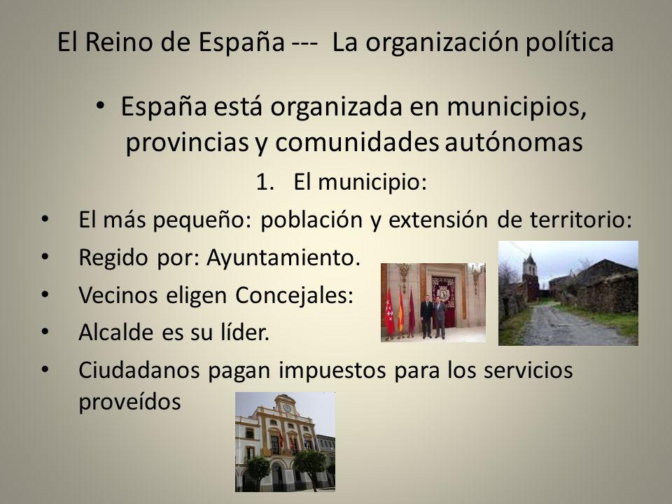 El Reino de España --- La organización política España está organizada en municipios, provincias y comunidades autónomas 1.El municipio: El más pequeñ