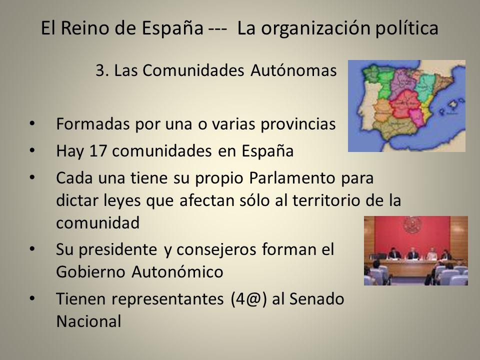 El Reino de España --- La organización política 3. Las Comunidades Autónomas Formadas por una o varias provincias Hay 17 comunidades en España Cada un