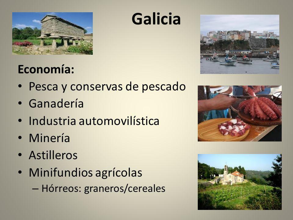 Economía: Pesca y conservas de pescado Ganadería Industria automovilística Minería Astilleros Minifundios agrícolas – Hórreos: graneros/cereales