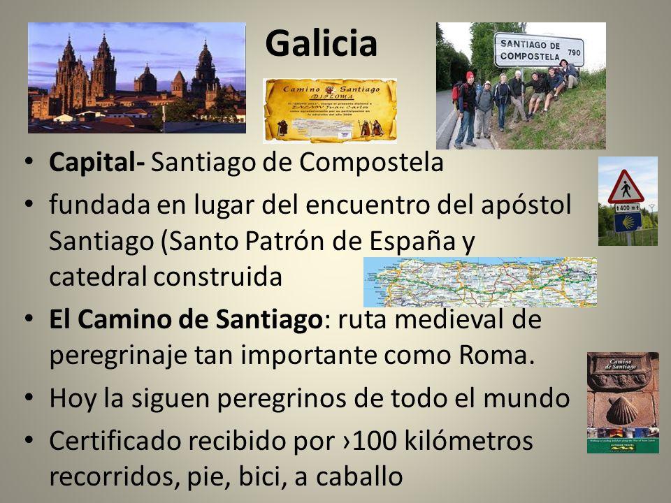Galicia Capital- Santiago de Compostela fundada en lugar del encuentro del apóstol Santiago (Santo Patrón de España y catedral construida El Camino de