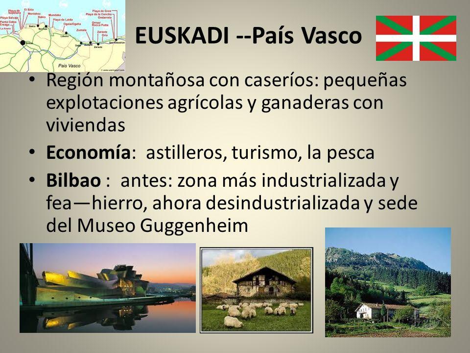 EUSKADI --País Vasco Región montañosa con caseríos: pequeñas explotaciones agrícolas y ganaderas con viviendas Economía: astilleros, turismo, la pesca