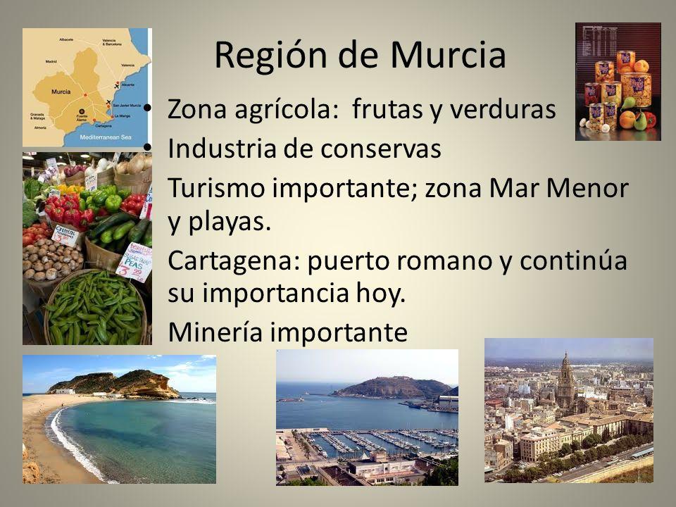 Región de Murcia Zona agrícola: frutas y verduras Industria de conservas Turismo importante; zona Mar Menor y playas. Cartagena: puerto romano y conti