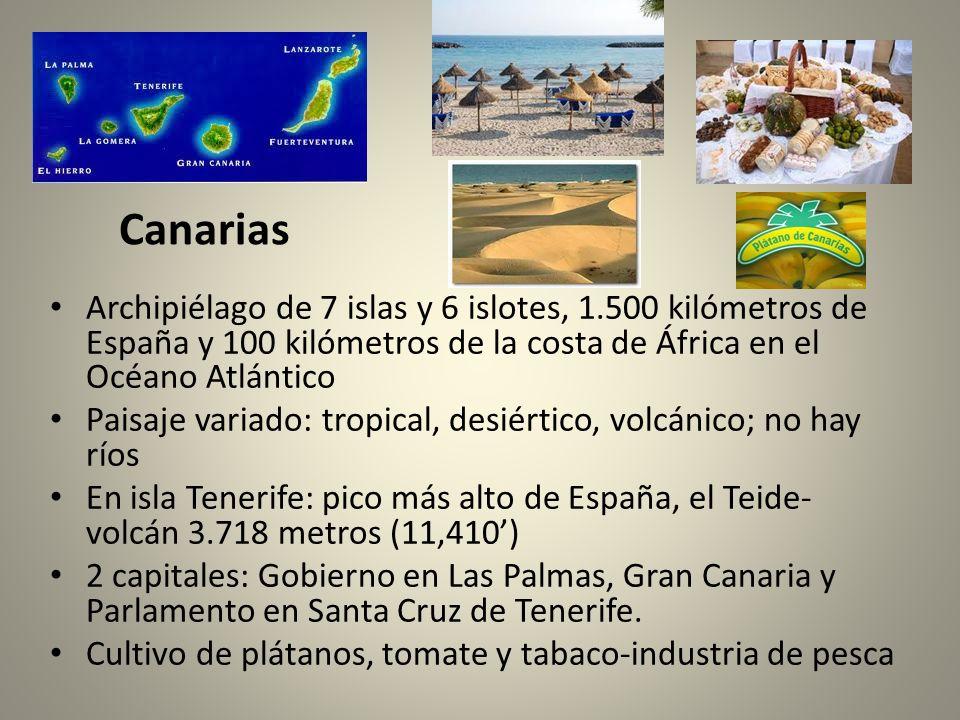 Canarias Archipiélago de 7 islas y 6 islotes, 1.500 kilómetros de España y 100 kilómetros de la costa de África en el Océano Atlántico Paisaje variado