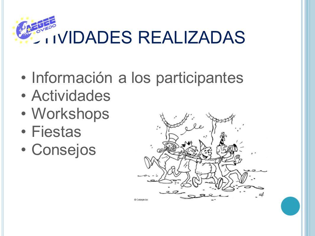 ACTIVIDADES REALIZADAS Información a los participantes Actividades Workshops Fiestas Consejos