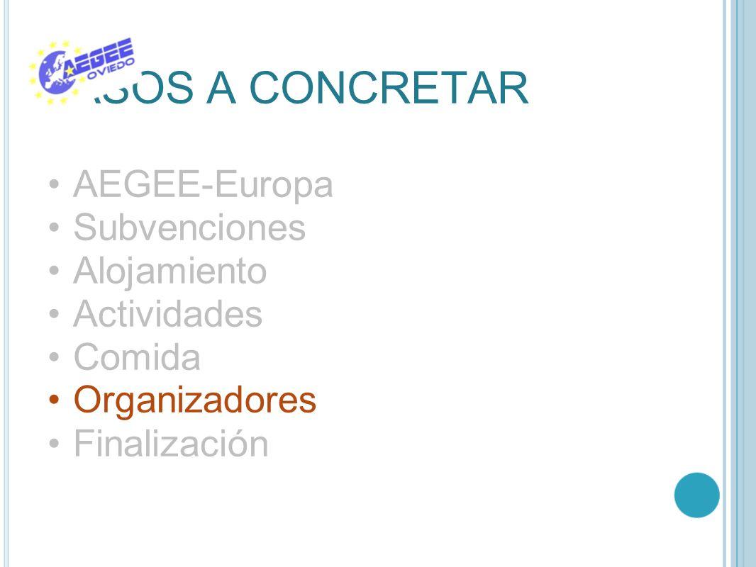 PASOS A CONCRETAR AEGEE-Europa Subvenciones Alojamiento Actividades Comida Organizadores Finalización