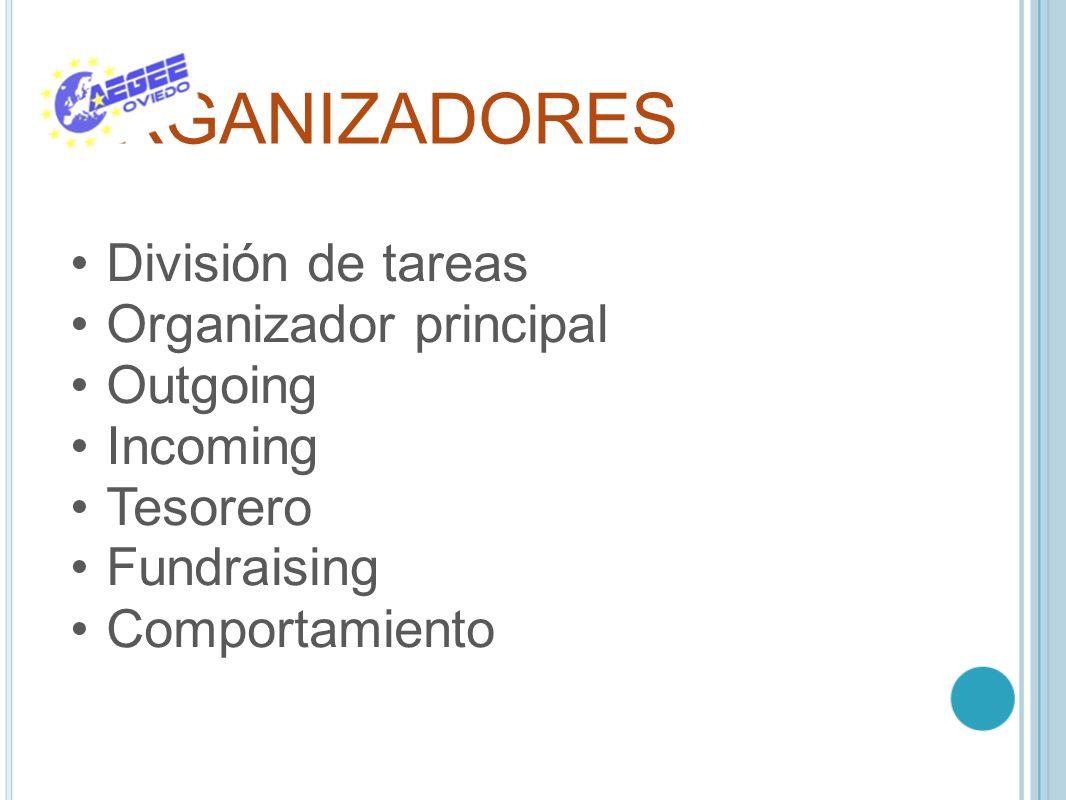ORGANIZADORES División de tareas Organizador principal Outgoing Incoming Tesorero Fundraising Comportamiento