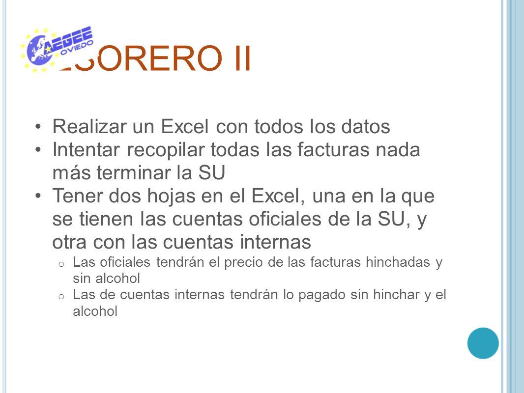 TESORERO II Realizar un Excel con todos los datos Intentar recopilar todas las facturas nada más terminar la SU Tener dos hojas en el Excel, una en la