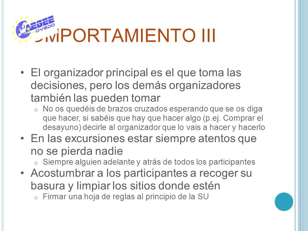 COMPORTAMIENTO III El organizador principal es el que toma las decisiones, pero los demás organizadores también las pueden tomar o No os quedéis de br