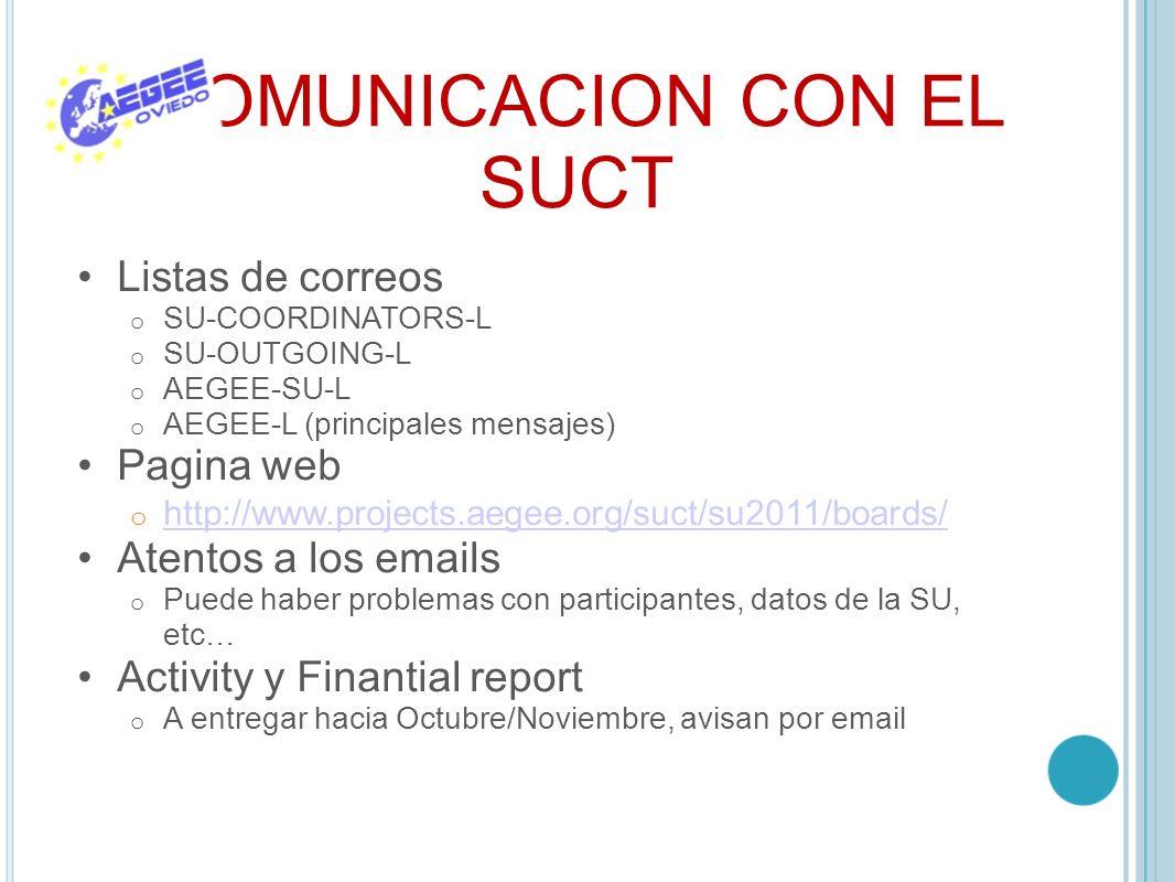 COMUNICACION CON EL SUCT Listas de correos o SU-COORDINATORS-L o SU-OUTGOING-L o AEGEE-SU-L o AEGEE-L (principales mensajes) Pagina web o http://www.p