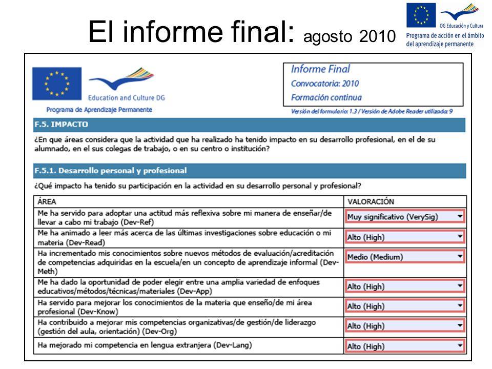 El informe final: agosto 2010