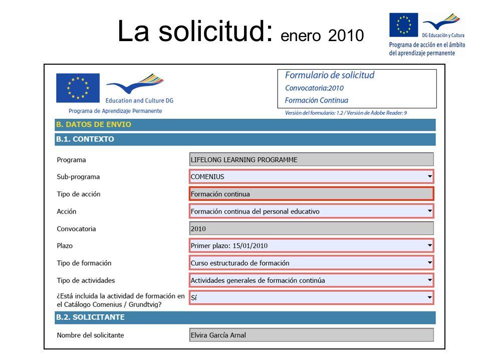 La solicitud: enero 2010