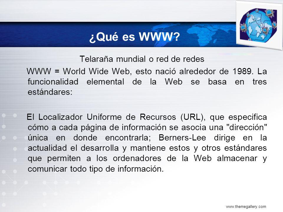 ¿Qué es WWW.Telaraña mundial o red de redes WWW = World Wide Web, esto nació alrededor de 1989.