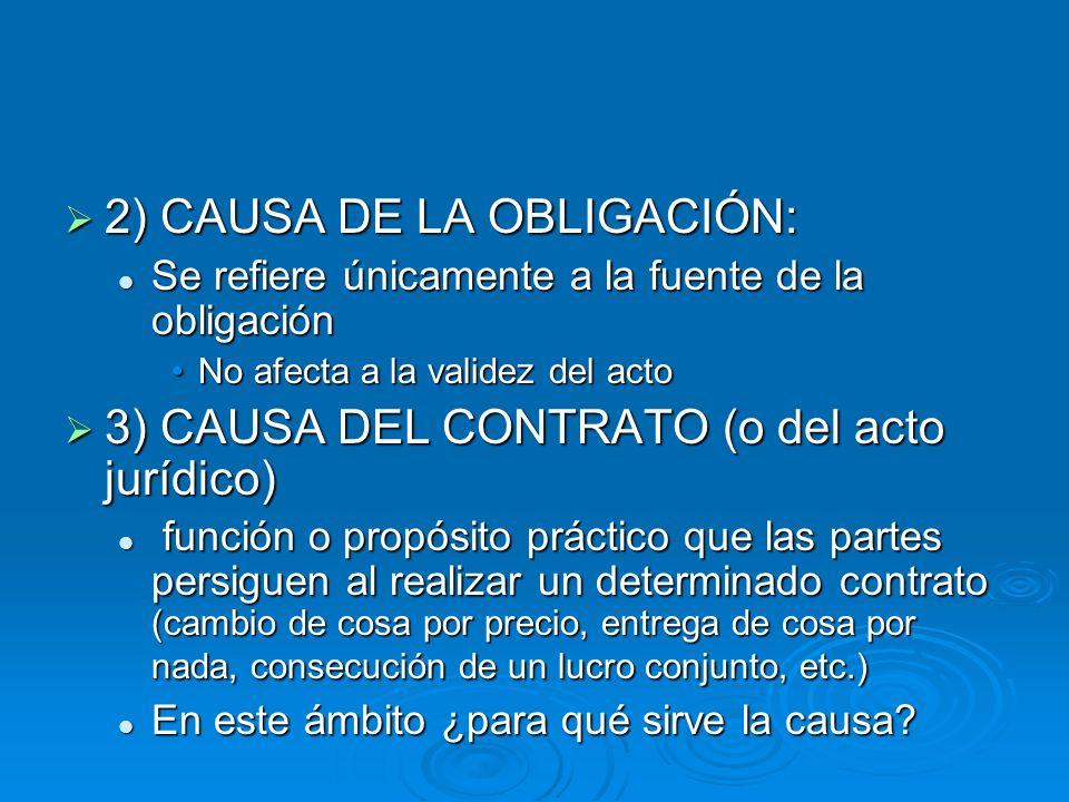 2) CAUSA DE LA OBLIGACIÓN: 2) CAUSA DE LA OBLIGACIÓN: Se refiere únicamente a la fuente de la obligación Se refiere únicamente a la fuente de la oblig